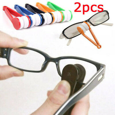 2Pcs Mini Cute Glasses Eyeglass Sunglasses Spectacles Microfiber Cleaner Brush