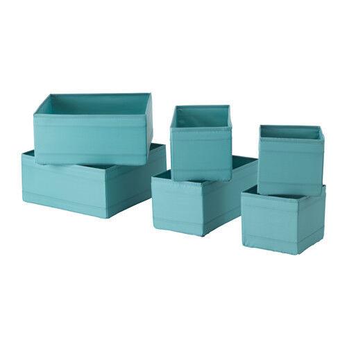 IKEA SKUBB 6er Set Aufbewahrungsboxen Regaleinsätze je 2x in 3 Größen Hellblau