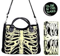 Glow In The Dark Skeleton Ribcage Gothic Shoulder Bag Handbag & Wallet Set Black