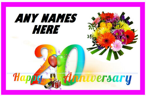 ANY NAMES PERSONALISED 20th ANNIVERSARY NOVELTY FRIDGE MAGNET LITTLE GIFTS