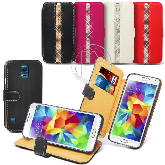 PREMIUM QUALITY BLING DIAMOND BOOK WALLET LEATHER CASE FOR VARIOUS MOBILE PHONES
