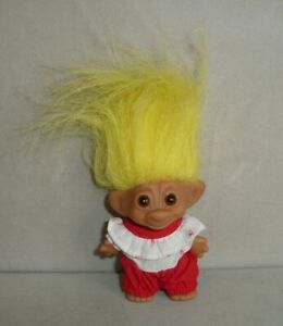 1960s-Vintage-3-034-Uneeda-Wishnik-Troll-Doll-Yellow-Hair-amp-Strawberry-Outfit