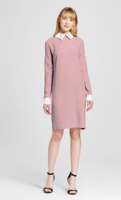 206a1c1138d Victoria Beckham Target 1x Plus Blush Pink Bunny Collared Long Sleeve Dress