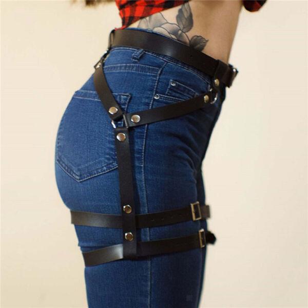 Frauen Kunstleder Punk Bein Harness Strumpfband Strumpfgürtel Strumpfhalter