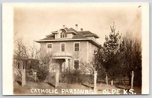 Olpe-Kansas-Roman-Catholic-Parsonage-American-Square-w-Fancy-Dormer-RPPC-c1910