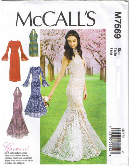 McCalls Pattern M7569 Formal Dresses Wedding Gown Trumpet Column ...