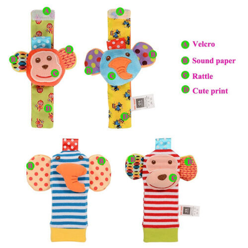 2Pcs Infant Baby Newborn Hand Wrist Bells Kids Foot Sock Rattle Soft Toys SA