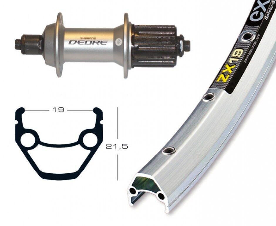 Vorderrad 26x1.75 Deore XT SSP 36L Exal ZX 19 Niro Speichen Schwarz Fahrrad