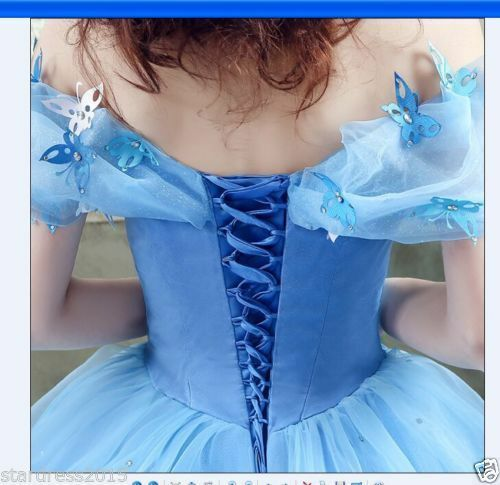 bluee Cinderella Wedding Evening Dresses Cosplay Princess Prom Prom Prom Party Ball Gowns + 0a31f3