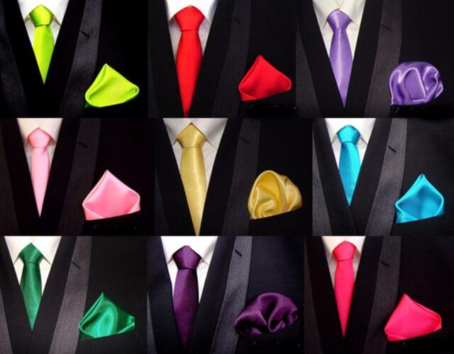 Favorable Y TOP Corbatas Tie + PAÑUELO DE BOLSILLO Set Boda en 30 COLORES