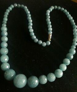 AQUAMARINE-AUDREY-HEPBURN-NECKLACE-UK-SELLER-Real-Opaque-gems-1950s-60s-Modern