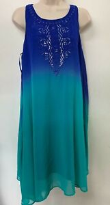 NEW-Ex-Store-Blue-amp-Turquoise-Chiffon-Sleeveless-Summer-Dress-Size-12-30