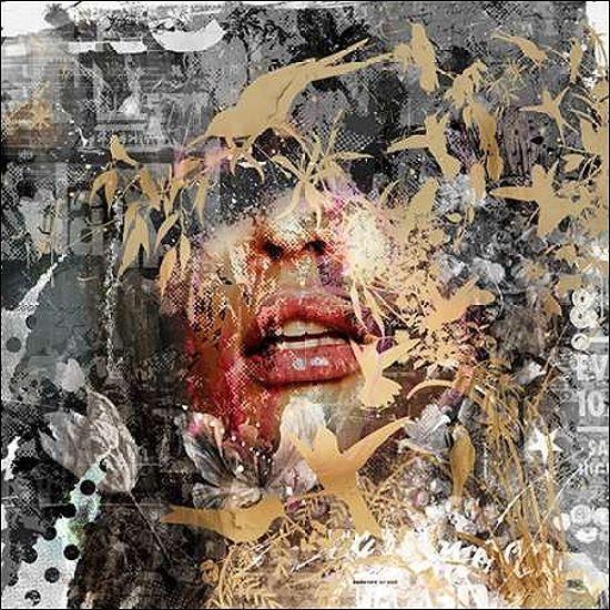 Albert Teis  Give me some more Keilrahmen-Bild Leinwand Collage modern abstrakt