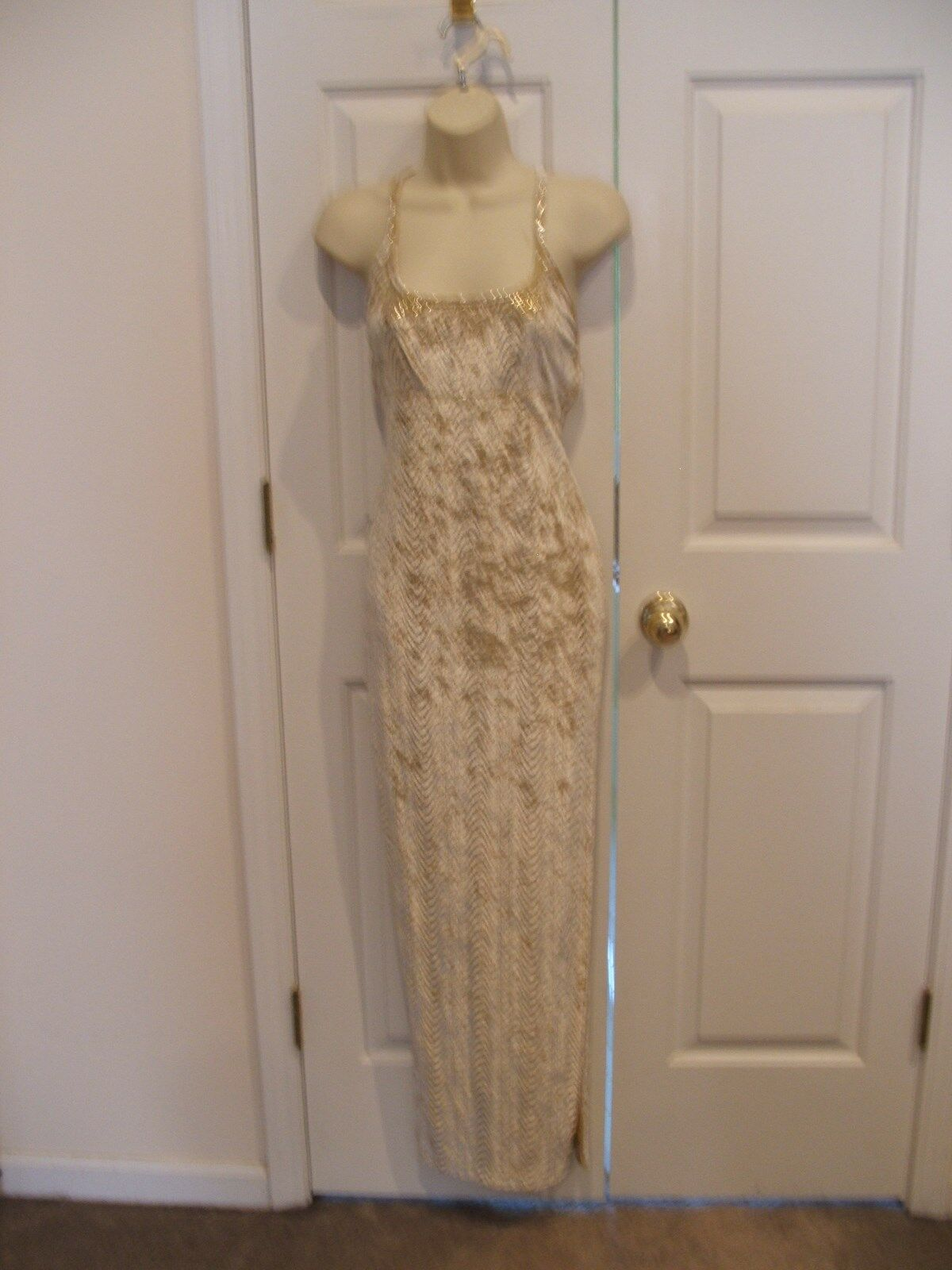 NWT frederick's of hollywood gold velvet prom pagent long formal gown small 6-8
