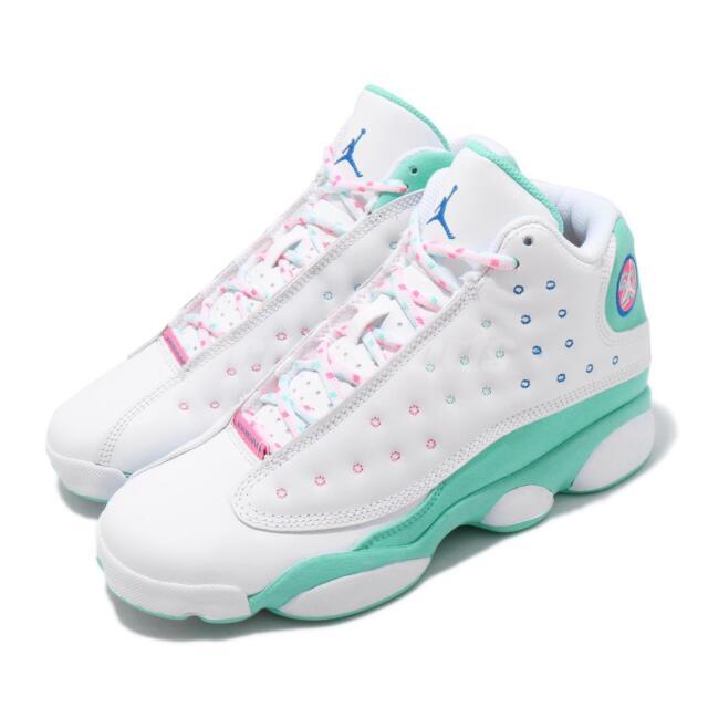 Nike Air Jordan 13 Retro GS Aurora Green White Pink XIII ...