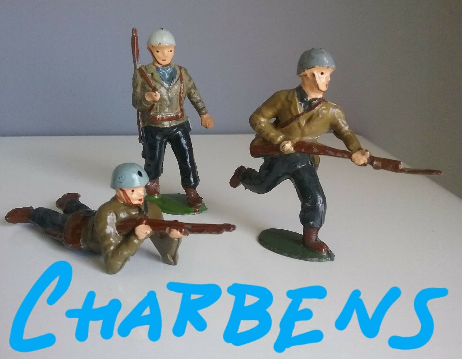 CHARBENS  hollowcast lead toy soldiers - American GI's  1950 made in UK