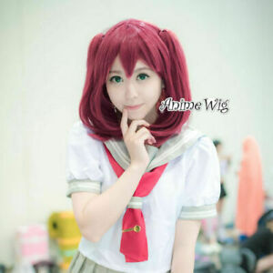 Details about Anime Cute Japan Ruby Red Hair Women Short Cosplay Wig +  Ponytails