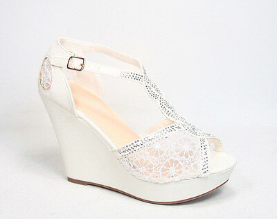 Bridal Sexy Rhinestone Lace Mesh Peep Toe Stiletto Platform Wedge Heel Shoes