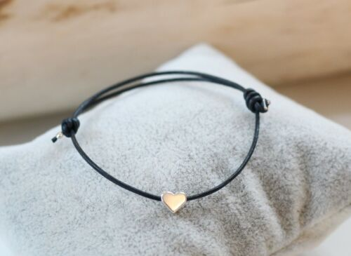 Lederarmband 1mm blaugrau Herz Farbe rosegold silber oder gold Freundschaft
