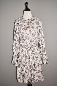 LA VIE REBECCA TAYLOR $295 Veronique Ruffle Sleeve Dress Gray Floral Small