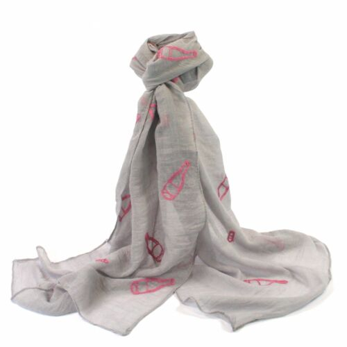 Prosecco Wine Scarf Grey White Present Gift Ladies Mothers Day Scarves LilyRosa
