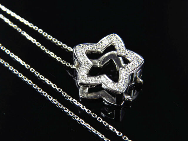 14K White Gold Genuine Real Diamond 3D Letter W Pendant and Chain