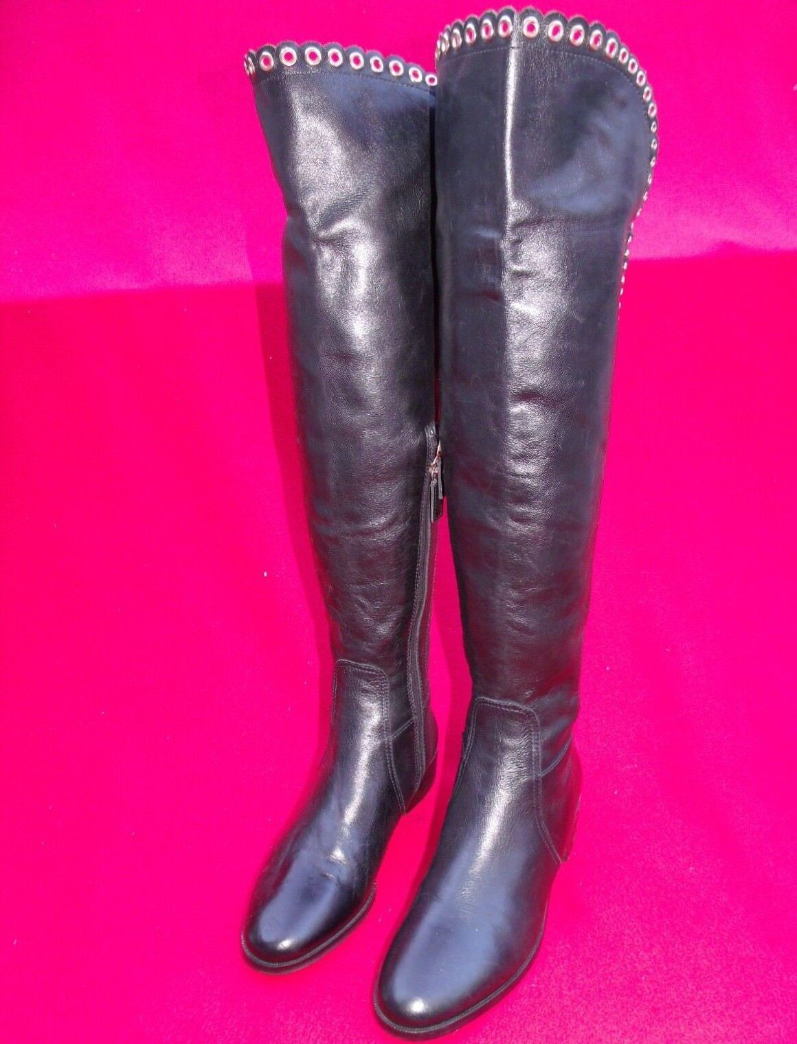 Davos Gomma Black Leather Boots Size US 5.5 Made in