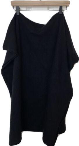 PORTOLANO wool angora rabbit cashmere black wrap s