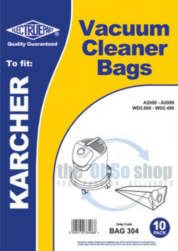WD2250 10 x KARCHER Vacuum Cleaner Bags To Fit  WD2.250-CCC WD2500 WD2400