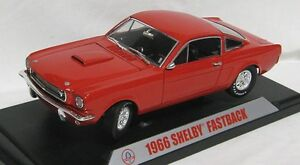 MUSTANG-GT350-FASTBACK-1966-RED-SHELBY-COLLECTIBLES-1-18-REPLICA-DIE-CAST-MODEL