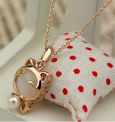 Fashion Charm jewelry Opal cat Pearl vintage long Pendant Chain Necklace N95