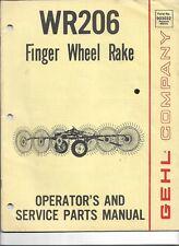 Original Gehl Wr206 Finger Wheel Rake Operators Parts Manual 90303215m1p282