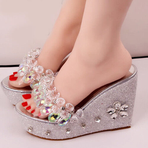 Bohemia donna donna donna Crystal Wedge Heels Sandal Transparent Beads Slipper Dimensione Party 1a4996