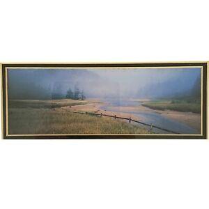 Vintage-Art-Print-Creek-Bed-Water-Nature-Scene-Forest-Framed-Matted-12x7