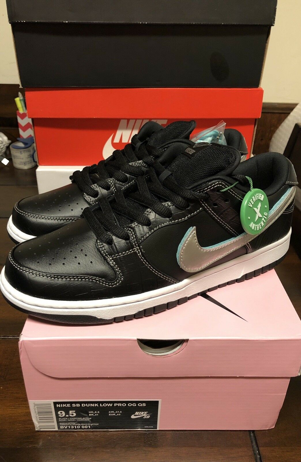 Nike SB Dunk Low Diamond Supply Black BV1310-001 Size 9.5 New Authentic