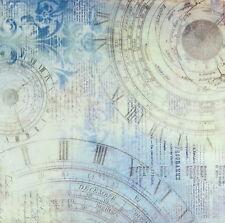Carta DI RISO DECOUPAGE Decopatch Scrapbooking FOGLI TEXTURE AZZURRO OROLOGI
