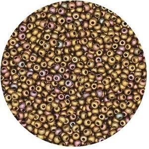 Czech-Glass-Seed-Beads-Size-11-0-Gold-Rainbow