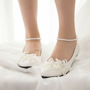 Women-Flats-White-Ankle-Tassel-Pearl-Wedding-Bridal-Dress-Comfrot-Shoes-Pumps
