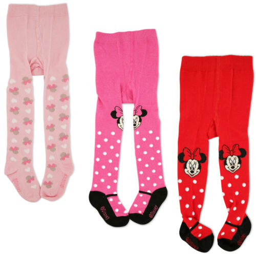 3 Piece Variety Pack 0-24M Disney Minnie Mouse Polka Dot Tights Baby Girls