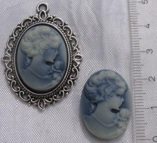 Camée cabochon oval à collier FEMME GRIS BLEU en relief 24x18mm pour bijoux *A81