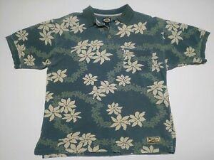 Tommy-Bahama-Blue-Green-and-White-Hawaiian-Men-s-Cotton-Polo-Shirt-Sz-Large-EUC