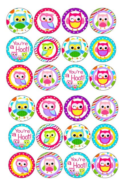 24 icing cake toppers decorations birthday Cute colourful owls new baby 1st 2nd