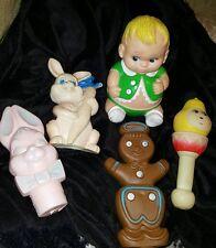 Lot of Vintage Rubber Vinyl Squeak, Rabbit,Gingerbread man,  Baby Uneeda Doll Co