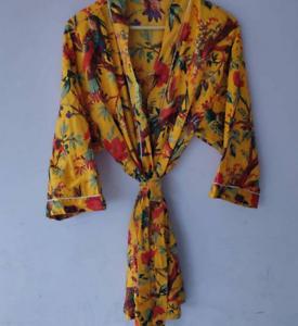 Kimono Floral Oiseau Jaune Robe De Nuit Costume Livraison Robe De Bain Kimono