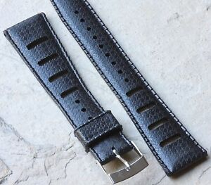 Black-20mm-Tropic-strap-type-slotted-NOS-vintage-divers-watch-dive-band-93-sold