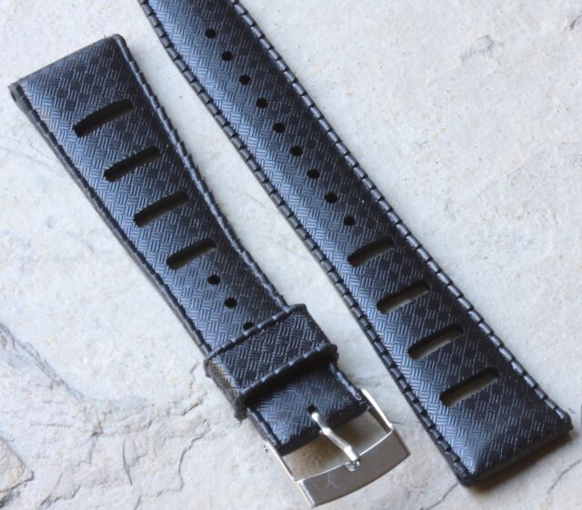 Black 20mm Tropic strap type watch band slotted New Old Stock to vintage divers