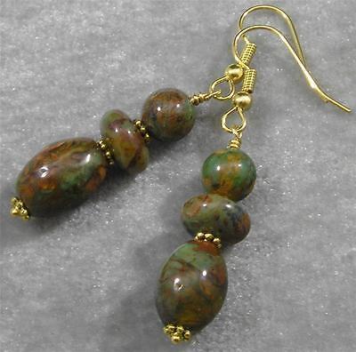 African Green Brown Opal Gemstone Oval Rondelle Round Earrings Hypoallergenic