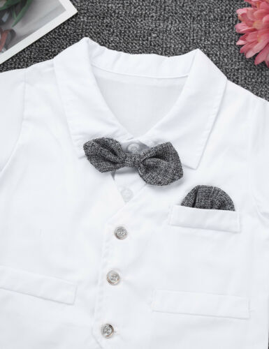 Infant Baby Boys Gentleman Romper Jumpsuit Waistcoat Bowtie Outfit Wedding Suit