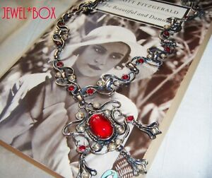 VINTAGE-JEWELLERY-Glamour-Ruby-Cabochon-Crystal-BAROQUE-Jewels-of-India-NECKLACE