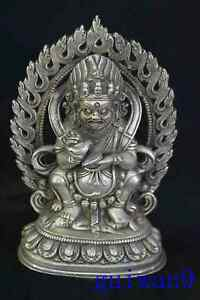 Collectable-Tibet-Chinese-Old-Miao-Silver-Carve-Buddha-Pray-Temple-Decor-Statue